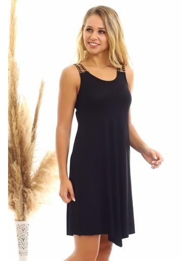 Cottonmood 20060631 Viskon Omuzu Etnik Şeritli Kolsuz Elbise Bordo Siyah